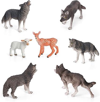 Animal Figure 14 Pcs Wild Animal Toy Hunting Wolf Plastic Model Children Toy