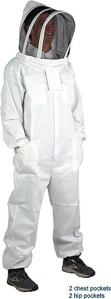 XL Professional Cotton Full Body Beekeeping Bee Keeping Suit w// Veil Hood US