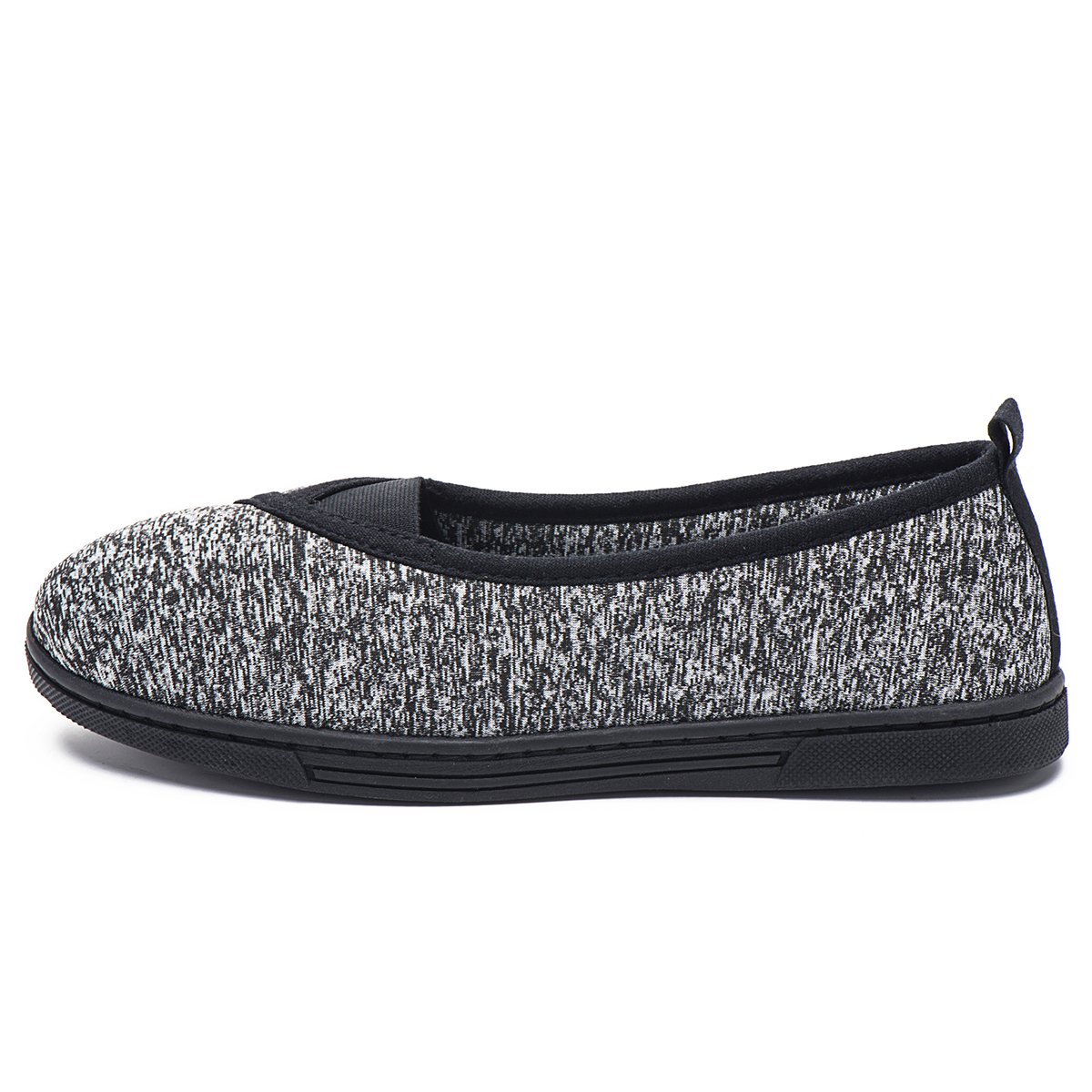 FootTech Women House Slippers Memory Foam Lightweight Anti-Skid Comfort Cotton Home Shoes Designed by (US7-8, Black)