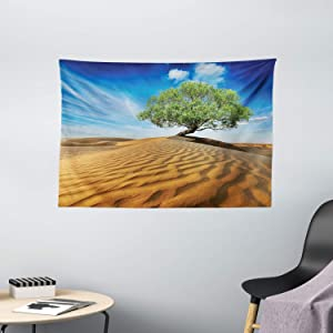"""Ambesonne Tree of Life Tapestry, Tree in The Desert on Sand Dune Dry but Alive Nature Habitat Life Photo, Wide Wall Hanging for Bedroom Living Room Dorm, 60"""" X 40"""", Blue Cream Green"""