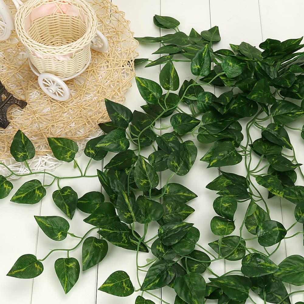 Fuibo Ext/érieur Plante Artificielle Plante De Vigne Suspendue Artificielle Laisse La D/écoration De Mur De Jardin De Maison De Guirlande Green A