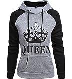 ZKOO Coppia di Felpe King&Queen Corona Stampa Manica Lunga Felpa con Cappuccio Pullover con Tasche