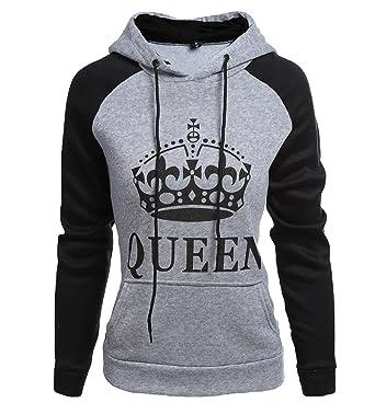 commercialisable beaucoup de styles découvrir les dernières tendances ZKOO Sweatshirt Sweat à Capuche Couple King & Queen Impression Hoodies pour  Femme Homme Sport Hooded Sweat-Shirt Pull Loisirs