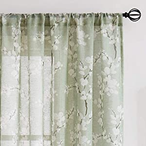 "Fmfunctex Green-White Sheer Curtains for Living-Room 84"" Long Blossom Print on Flax Linen Blend Window Curtain Panels 50"" w x 2 Pc, Sage Rod Pocket"