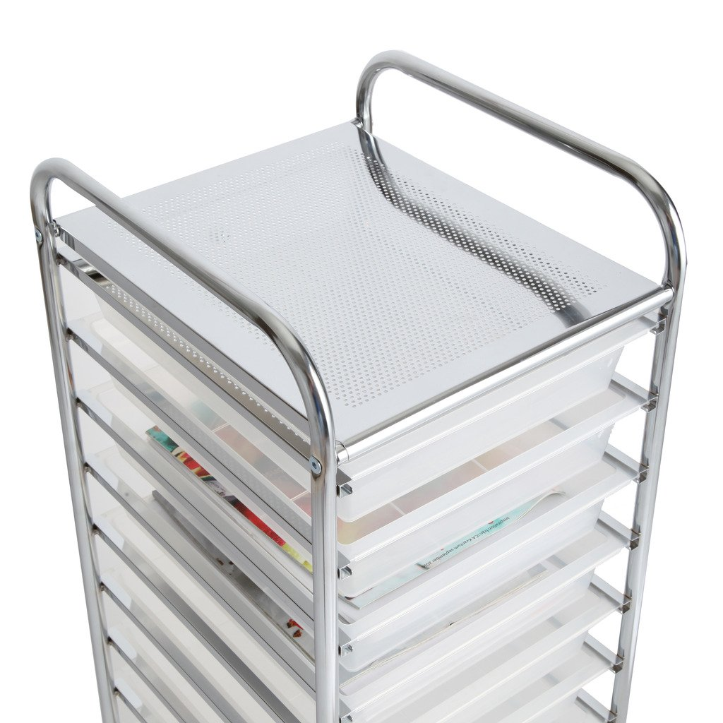 Finnhomy 10 Drawer Rolling Cart, Storage Rolling Carts with Semi-Transparent White Drawers, Organizer Cart for School, Office, Home, Beauty Salon,Utility Cart with Wheels by Finnhomy (Image #5)