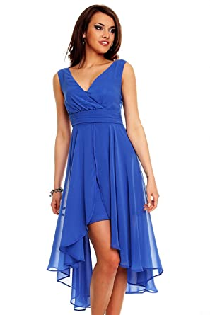 Vokuhila Abendkleid Cocktailkleid, Kleid aus Chiffon, blau: Amazon ...