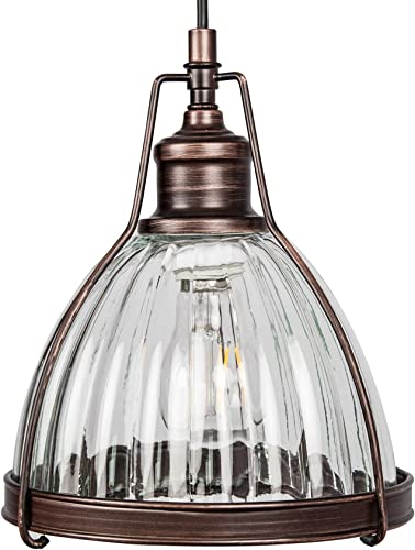 S DENTE 1-Light Pendant Lighting Fixture Industrial Pendant with Ribbed Glass, Kitchen Island Chandelier,Bronze Finish