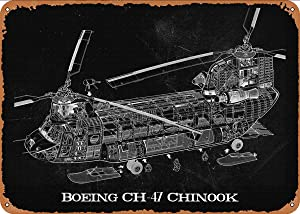 CharcasUS Boeing CH47 Chinook Metal Tin Sign Wall Decor Man Cave Military Fan Gift Home Bar Pub Decorative Military Posters 12x8 Inch
