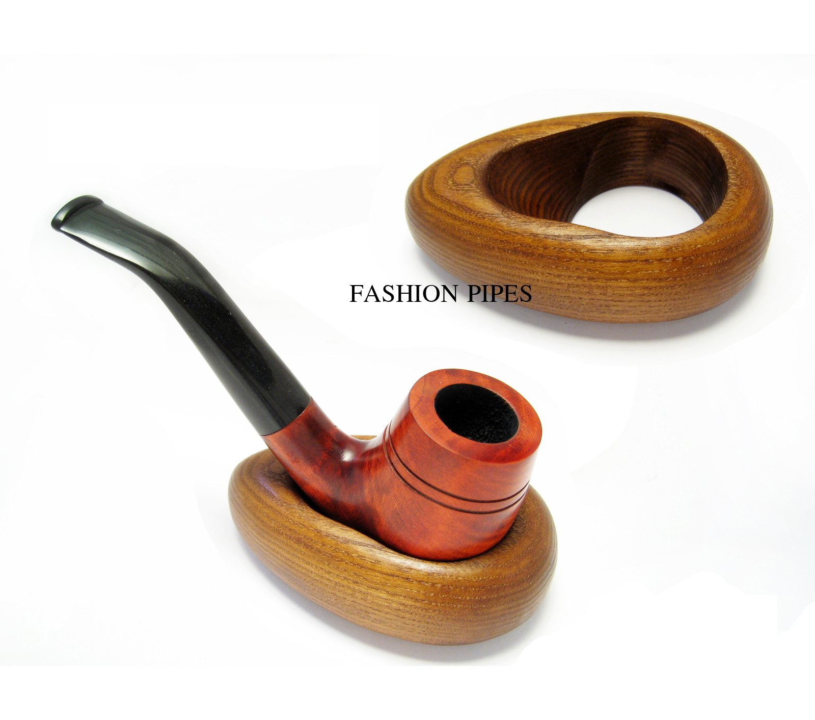 New Wooden Pipe Stand HOOP, Rack Holder for Tobacco Pipe - Smoking Pipe. Handcrafted Pipe Holder for 1 Pipe by Fashion Pipes