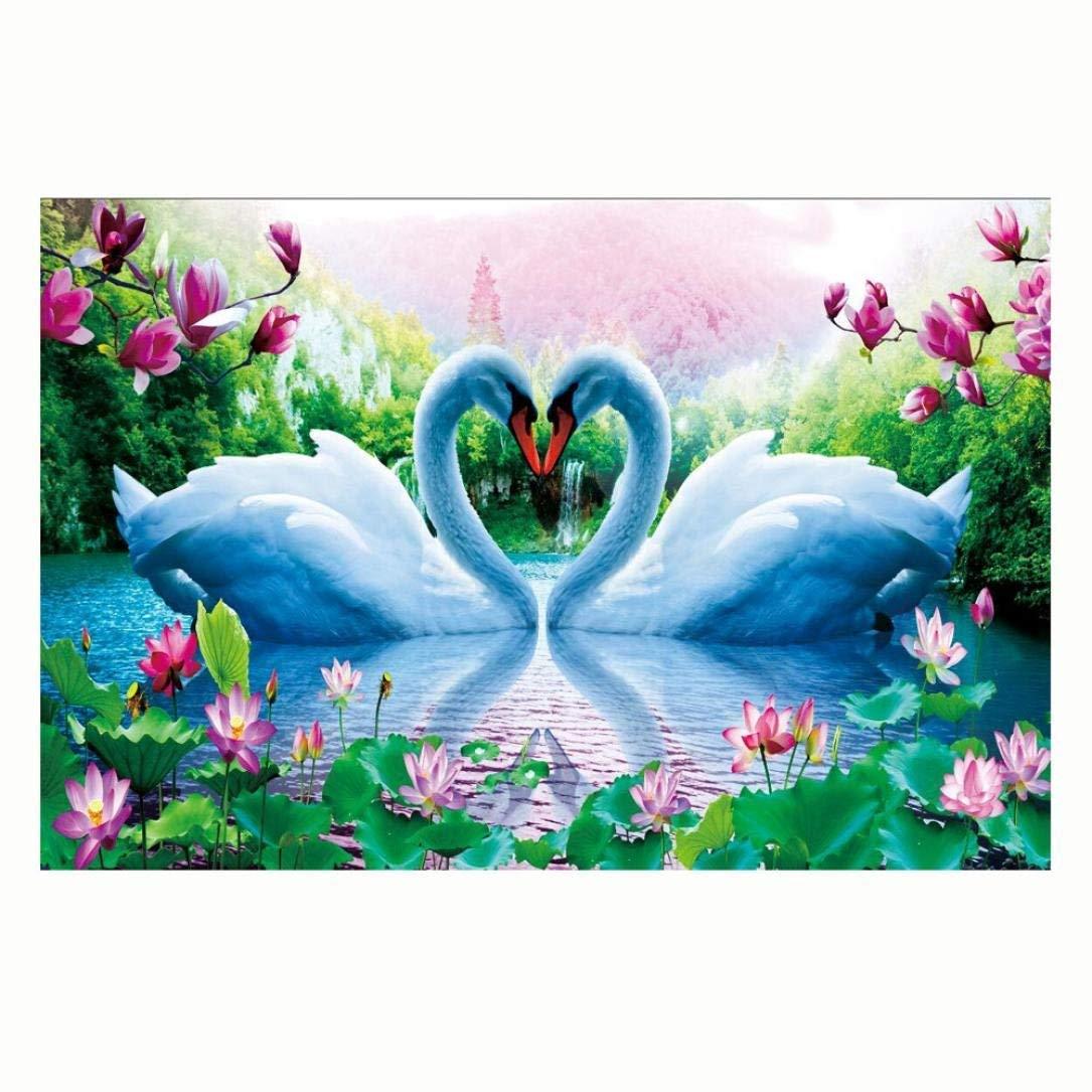 Tingsu Beautiful Swan lovers 5D pittura diamante DIY paint-by-diamond kit ricamo Home Wall Decor 45, 7 x 30, 5 cm 7x 30 5cm