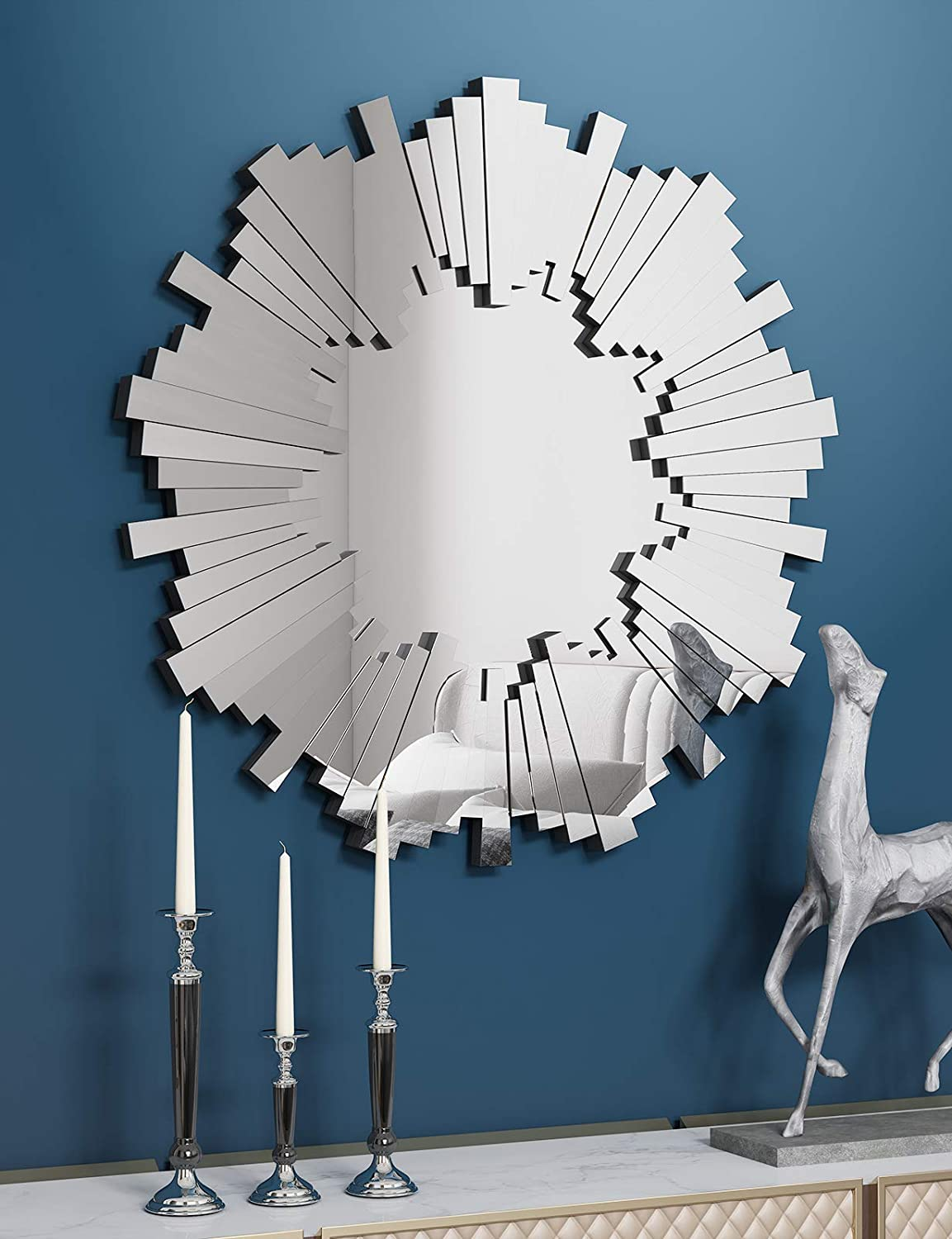 Sun Wall Mirror-Starburst Accent Wall Mounted Mirror for Decor Livingroom Bedroom