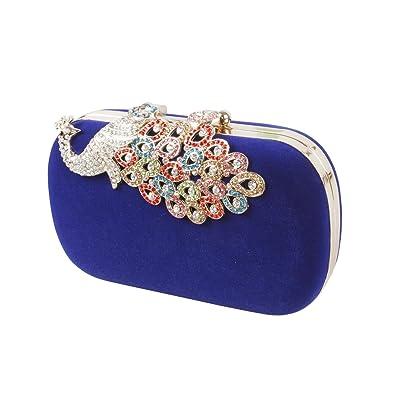 0258302db BMC Womens Elegant Rhinestone Peacock Clasp Velvet Cocktail Evening Handbag  (Blue)