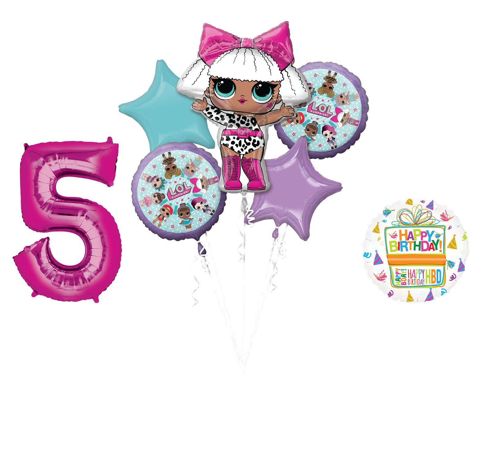 LOL Party Supplies 5th Birthday Balloon Bouquet Decorations by LOL Surprise