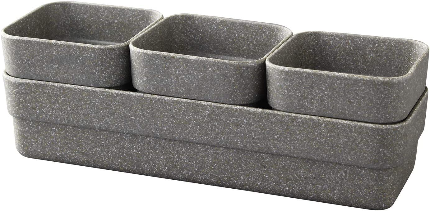 Time Concept Simple Eco Planter Herb Pot Set with Tray - Black, Set of 3 - Vegetable Garden Planter, Indoor & Outdoor Home Decor