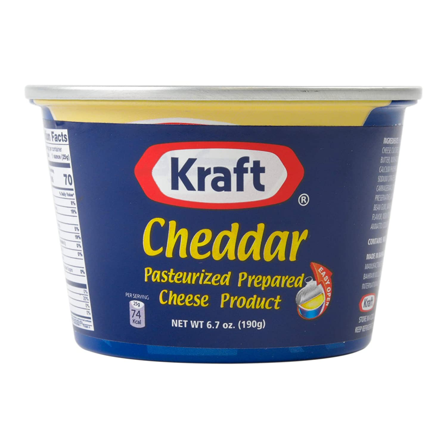 Kraft Prepared Pasturized Cheddar Cheese, Pantry Staple Cheese Spread for Crackers, 6.7oz Pack of 36