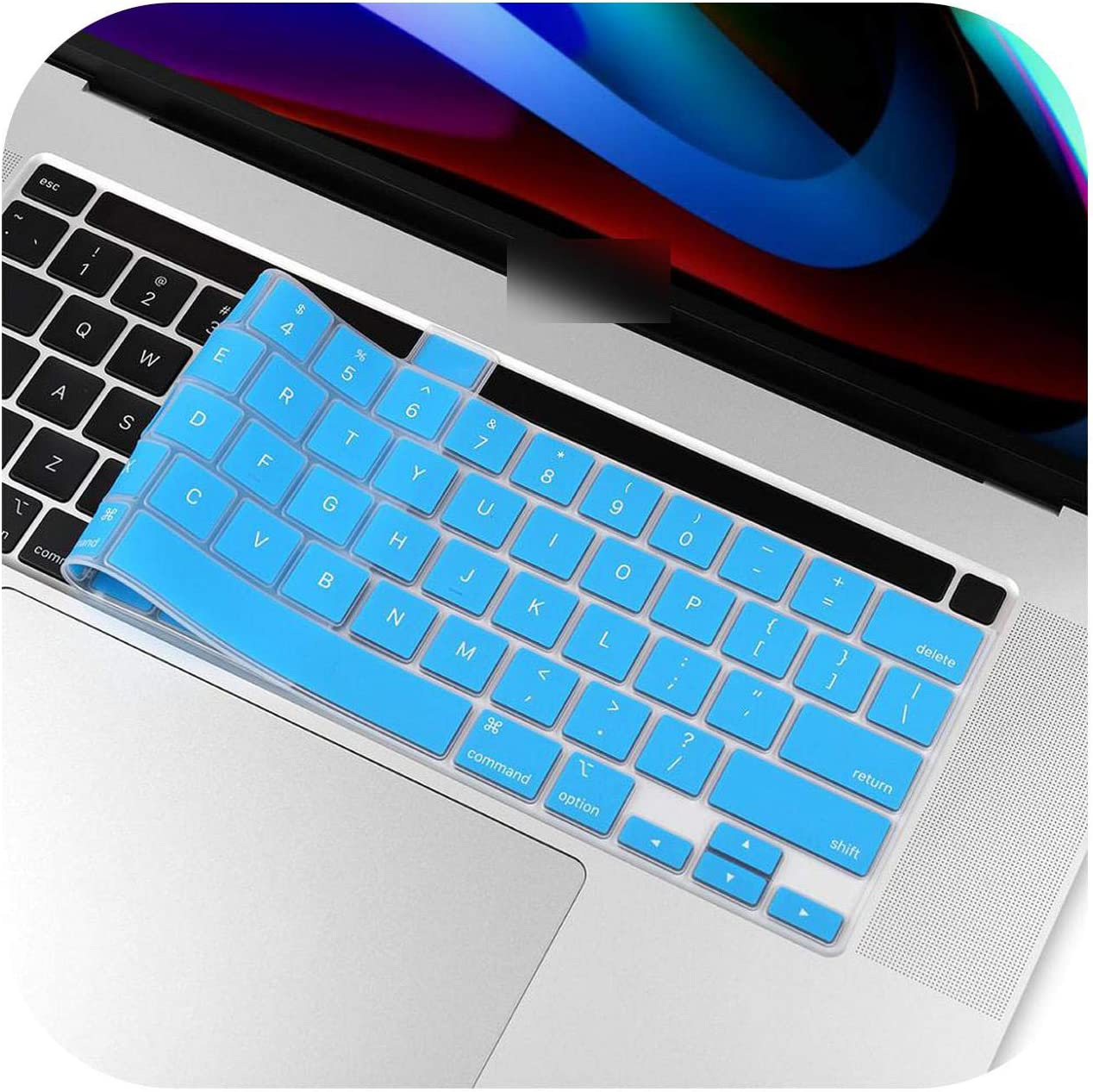 Solid Blue Us English Silicon Keyboard Cover Transparent Clear Protector for MacBook Pro 16 Inch 2019 A2141 Touch Bar//Touch Id