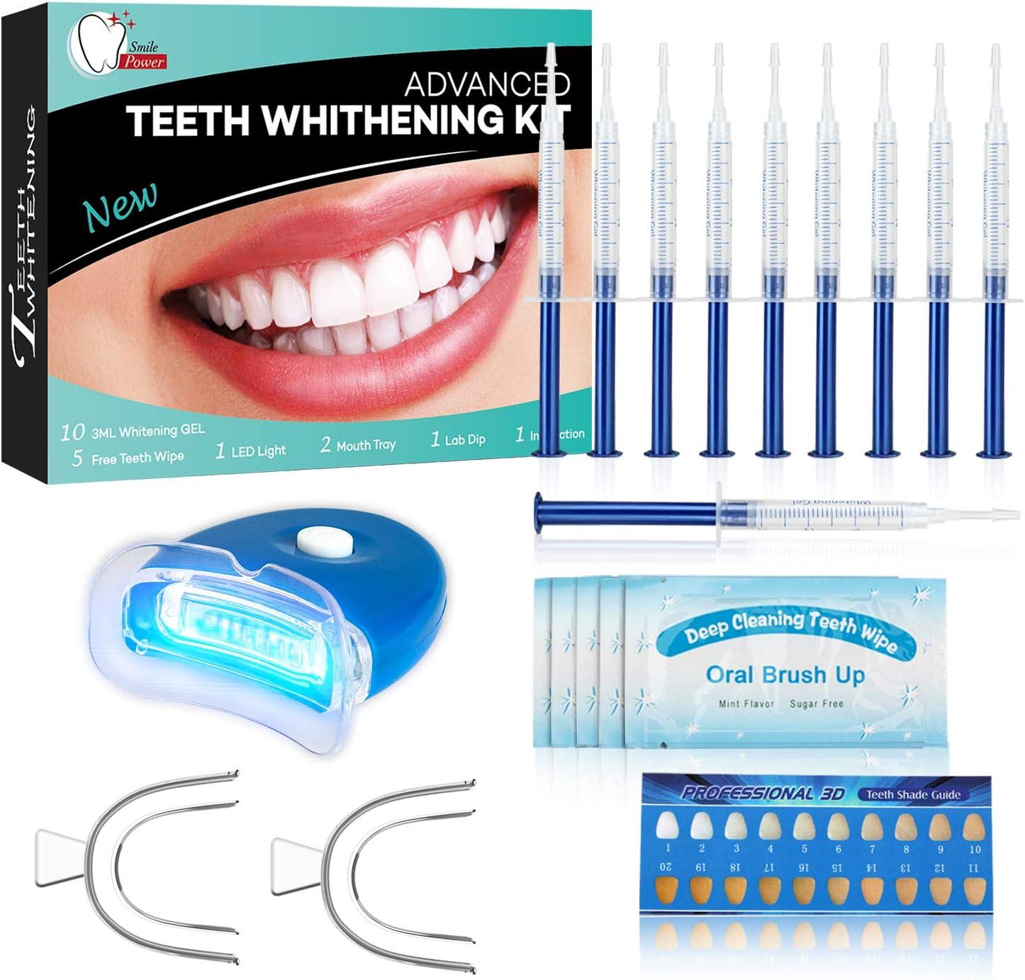 Kit de Blanqueamiento Dental Profesional Blanqueador Dientes Gel,Contra Dientes Amarillos, Manchas de Humo, Dientes Negros-10x3ML Gel, 1x Luz LED, 2x Bandeja Dental