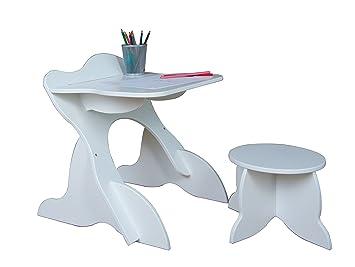 Room studio set ufficio leggio e sgabello legno bianco x