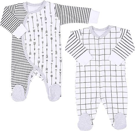 Juego de 2 pijamas básicas para bebé, de manga larga, con pie de algodón orgánico, para niñas, niños y recién nacidos, tallas 50-68 blanco Blanco Talla:50/0-1 M: Amazon.es: Bebé