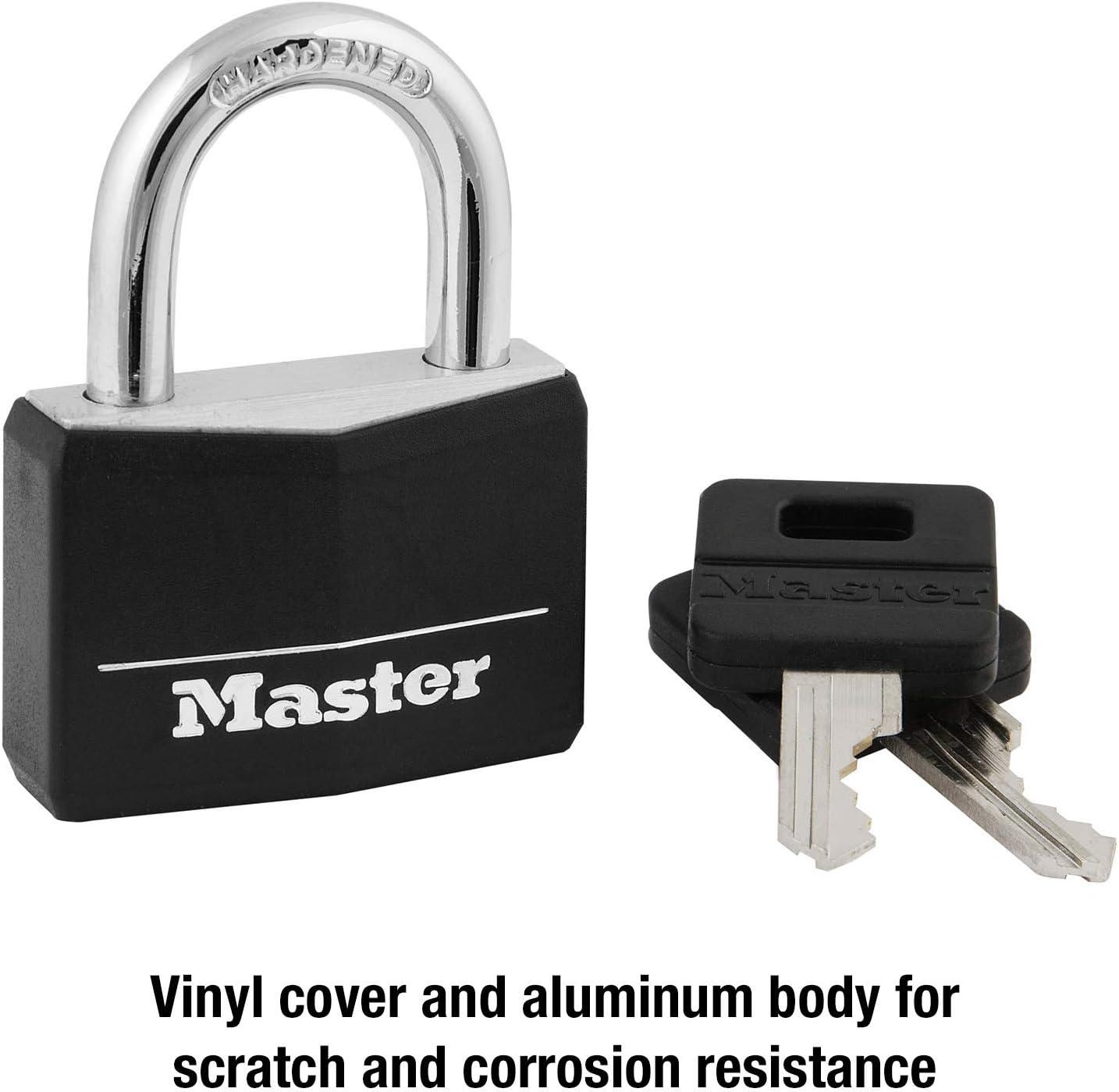 141DLF Wide Master Lock Padlock Black Covered Aluminum Lock 1-9//16 in