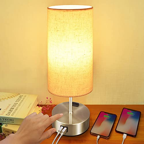 Touch Table Lamp, Sailstar 3 Way Dimmable Lamp, Nightstand Lamp with USB Charing Ports and Outlet, Fabric Lampshade Silver Metal Base lamp for Bedside Bedrooms