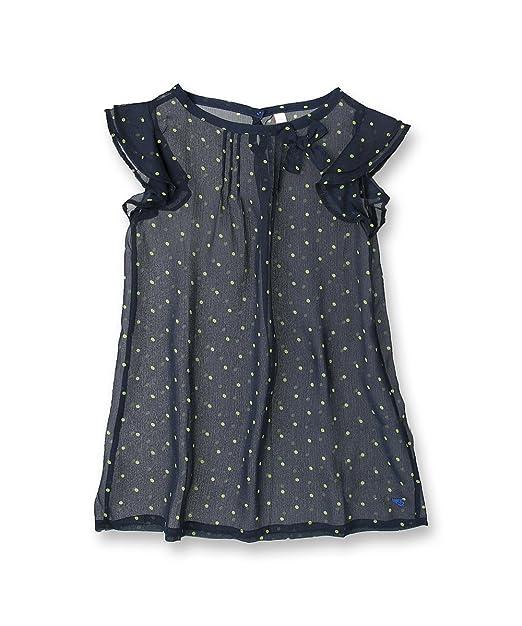 Esprit - Blusa con lunares con cuello redondo de manga corta para niña, talla 10