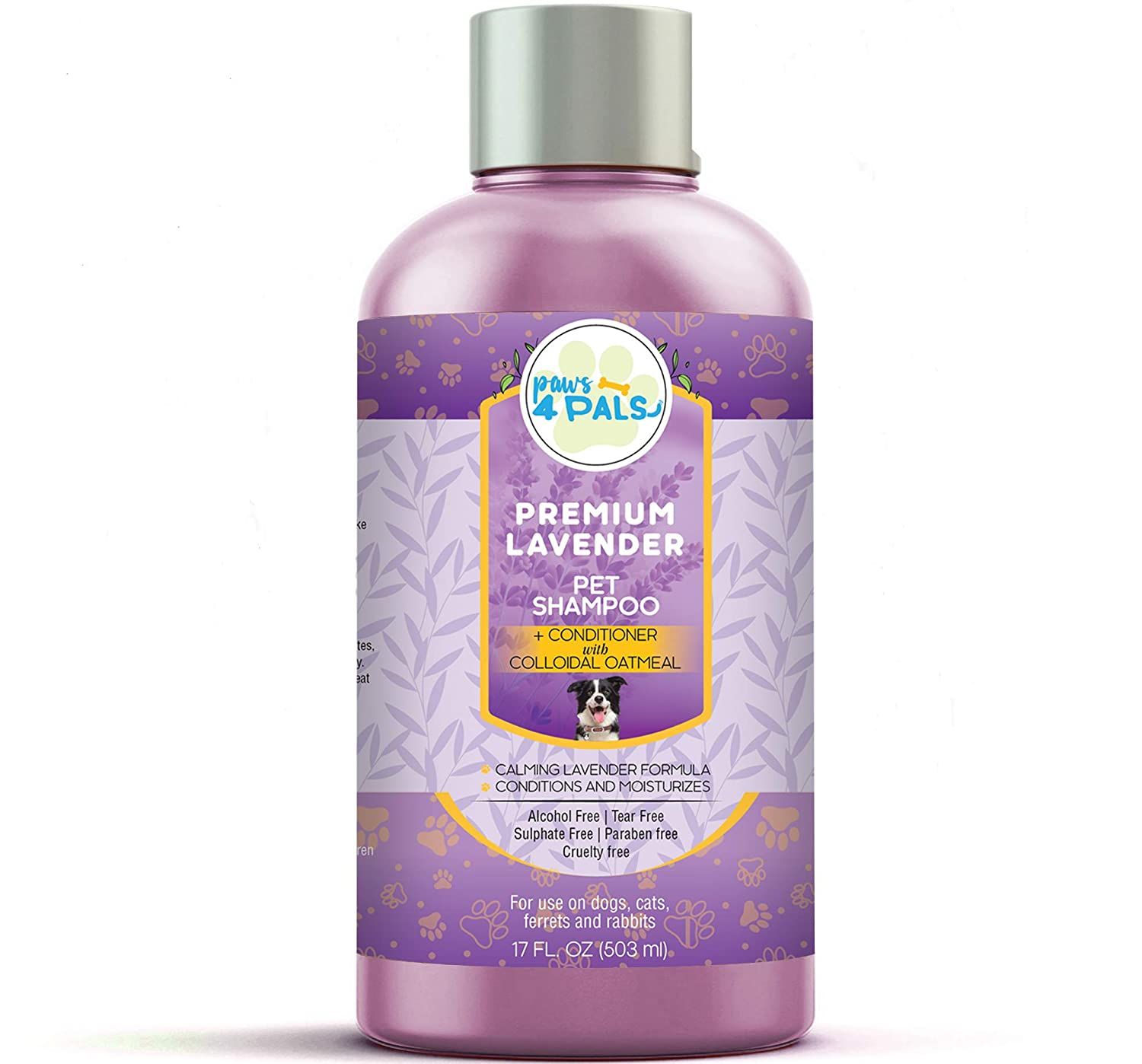 Paws4Pals All Natural Organic Pet Lavender Shampoo+Conditioner With Colloidal Oatmeal[17oz] For Dogs & Cats-Clinical Formula For Dry Sensitive Skin-Hypoallergenic & Soap Free