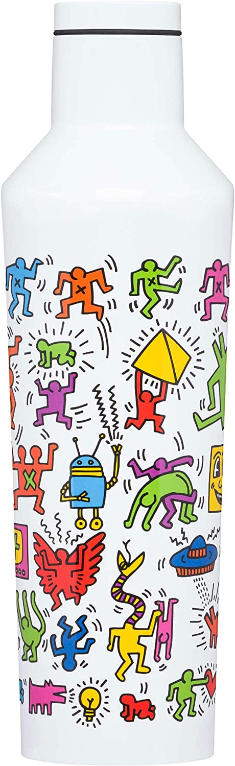 Corkcicle Keith Haring Botella isotérmica, Acero Inoxidable, Pop Party, 47 cl