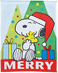 """Peanuts Worldwide Weather Resistant Large Christmas Nylon Garden Flag and Storage Bag Merry Snoopy and Woodstock, 18"""" x 24"""""""