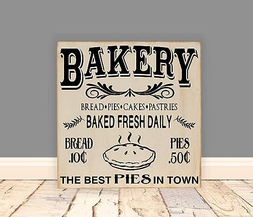 Evan332Eddie Placa de Madera Bakery 12 x 12 letreros de casa ...