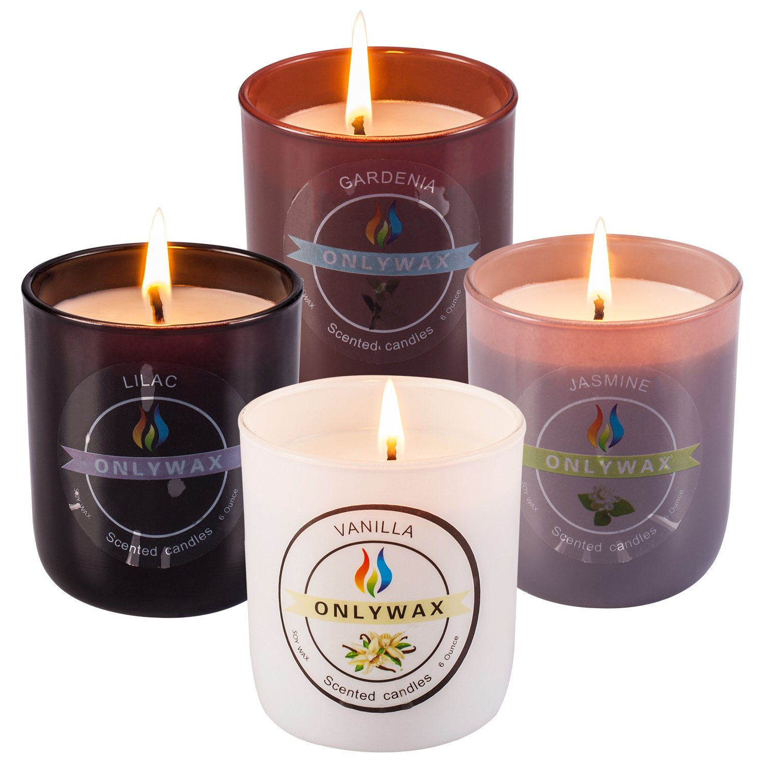 Onlywax Scented Candles 4 Pack Gift Set,Vanilla, Gardenia, Jasmine And Lilac, Aromatherapy Glass Jar Holidays Votive Soy Candle.