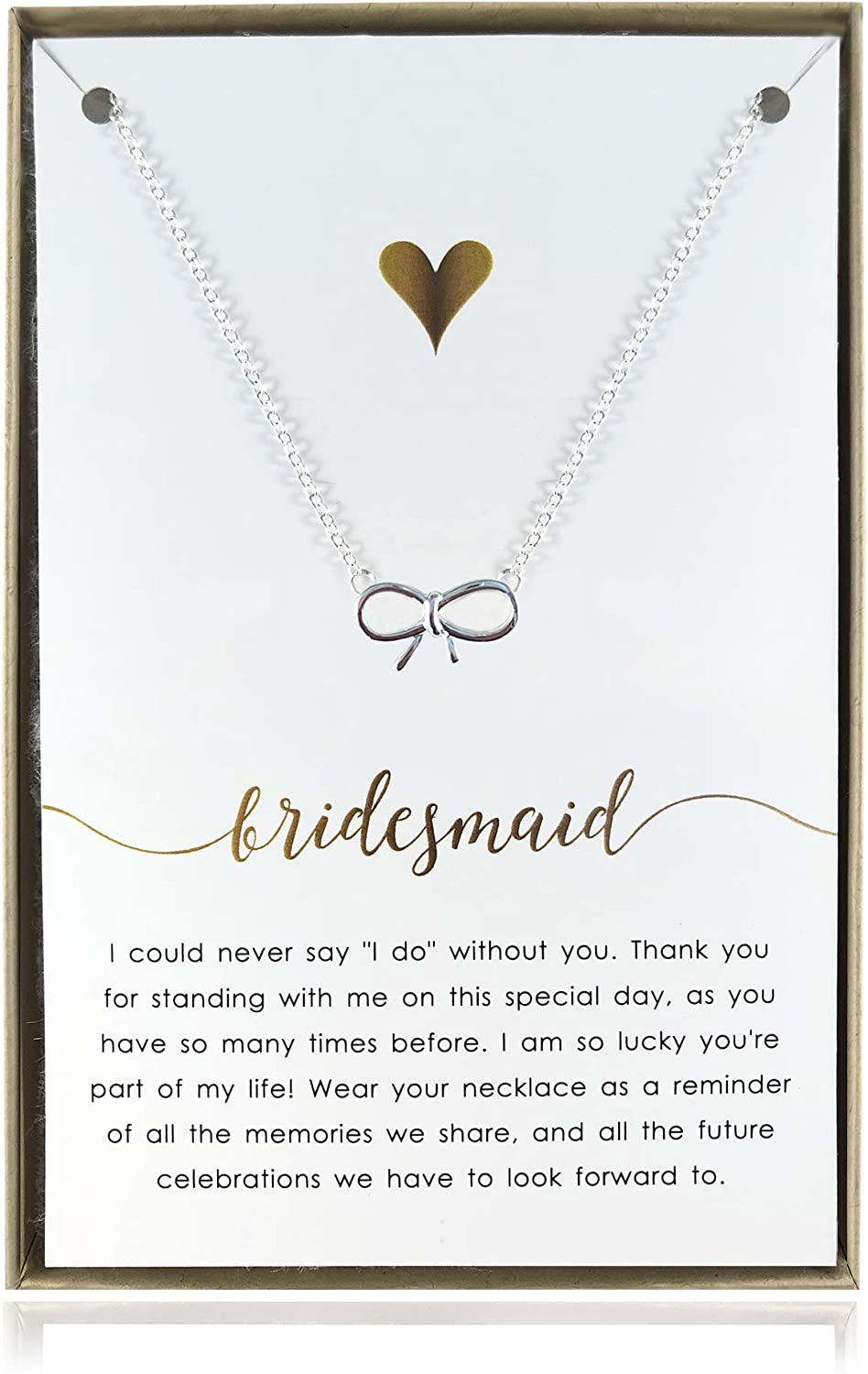 REAL Silver Thank You Maid Of Honour Star Necklace Gift Box Jewellery FREE Post