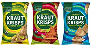 Variety Pack Kraut Krisps by Farmhouse Culture, Crunchy Cabbage Chips, Organic, Vegan, Gluten Free, Family-Size Bags, 11oz Each