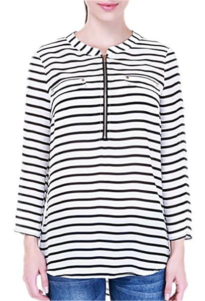 Mujer Clasicos Camiseta Blusa Mangas Largas Casual Elegante A Zebra Rayas Oficina Blouses T Shirt: Amazon.es: Ropa y accesorios