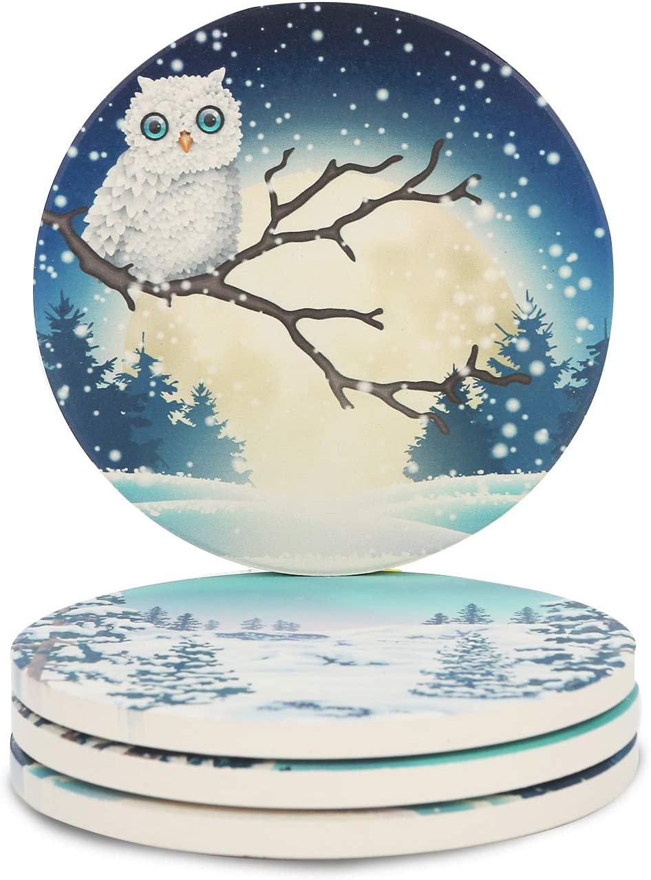 Miwen Coasters for Drinks, Absorbent Ceramic Stone with Cork Back, 4.25'' Large Diam, Prevent Furniture from Dirty, Scratched, Housewarming Gift, Set of 4 (2 Pcs Owl + 2Pcs Snow Pattern)