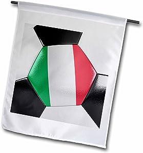 3dRose fl_181226_1 Italy Soccer Ball Garden Flag, 12 by 18-Inch