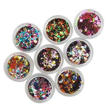 Coscelia 12 Small Hexagon Glitter Nail Art Deco Kit Acrylic Uv