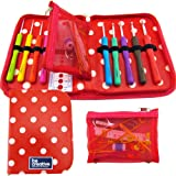 Crochet Hook Set with Ergonomic Crochet Hooks for Ultimate Comfort-Crochet for Longer with No Hand Pain! Crochet Kit with Sturdy Case, 9 Needles & 22 Accessories to Stay Organised! Ideal Gift for Beginners and Experts!