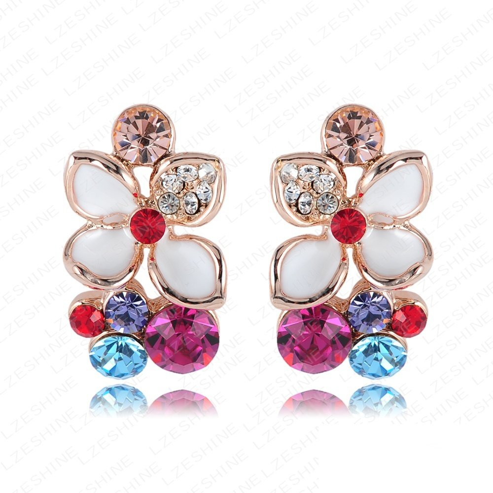 Evertrust (TM)- LZESHINE Brand Flower Earrings Rose Gold Plated White Enamel Earrings With Austrian Crystal SWA Element ER0100 by EverTrust (Image #1)