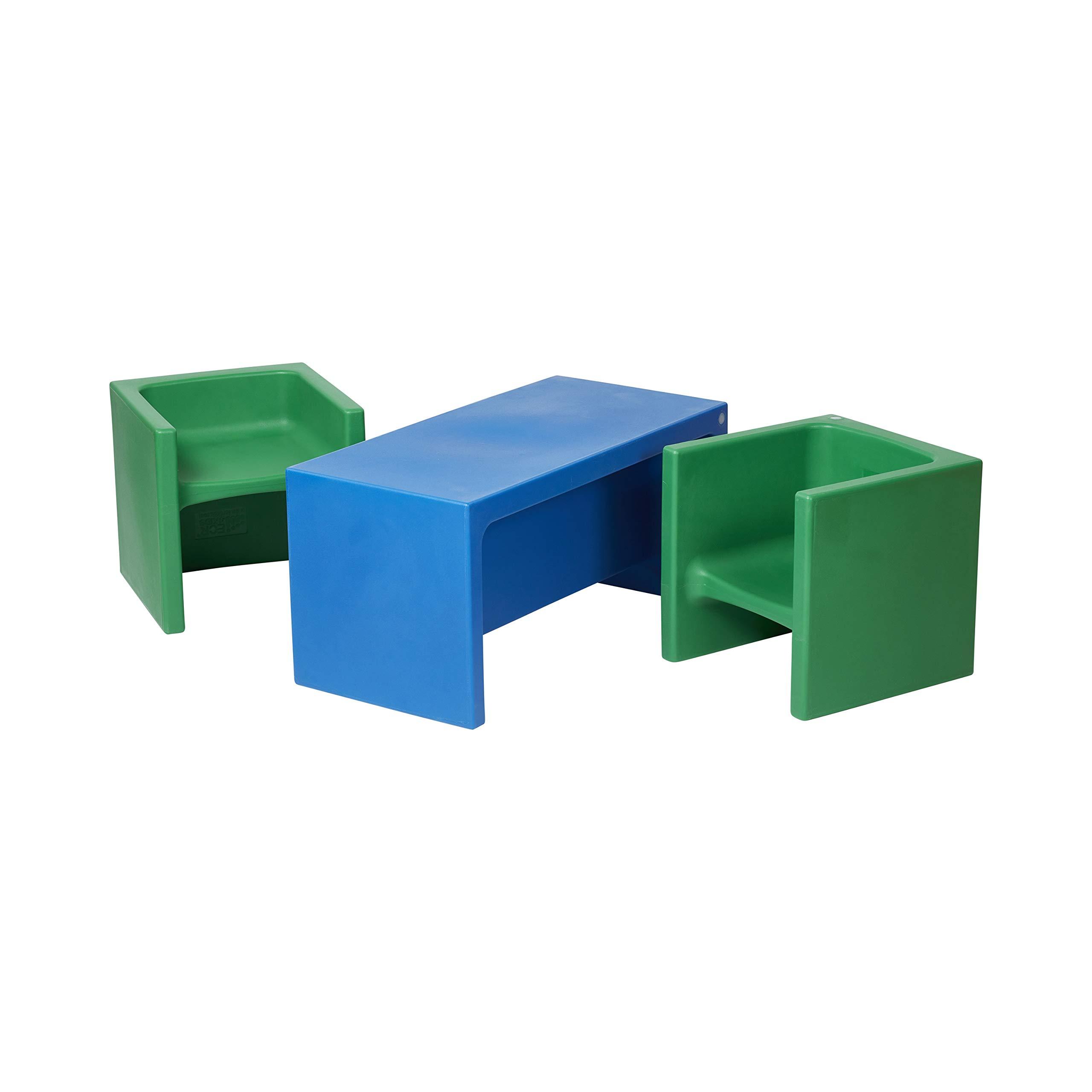 ECR4Kids Tri-MeAdaptable Kids Bench & Chairs Set, 3-in-1 Multipurpose Indoor & Outdoor Furniture for Children, Blue/Green (3-Piece)