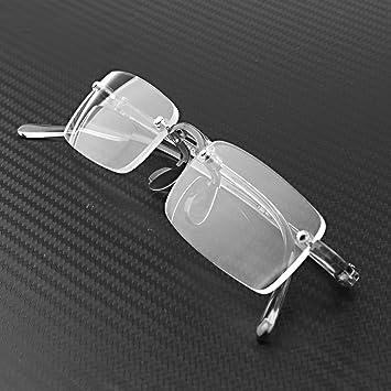 99c9351ac32a Compact Bifocal Frameless Rimless Reading Glasses Eyeglasses Eyewear +  Travel Protable Smoke Portable Hard Case (