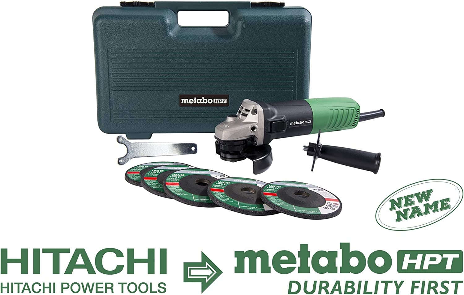 Metabo HPT G12SR4 4-1 2-Inch Angle Grinder, Includes 5 Grinding Wheels and Hard Case, 6.2-Amp Motor, Compact and Lightweight, 5 Year Warranty