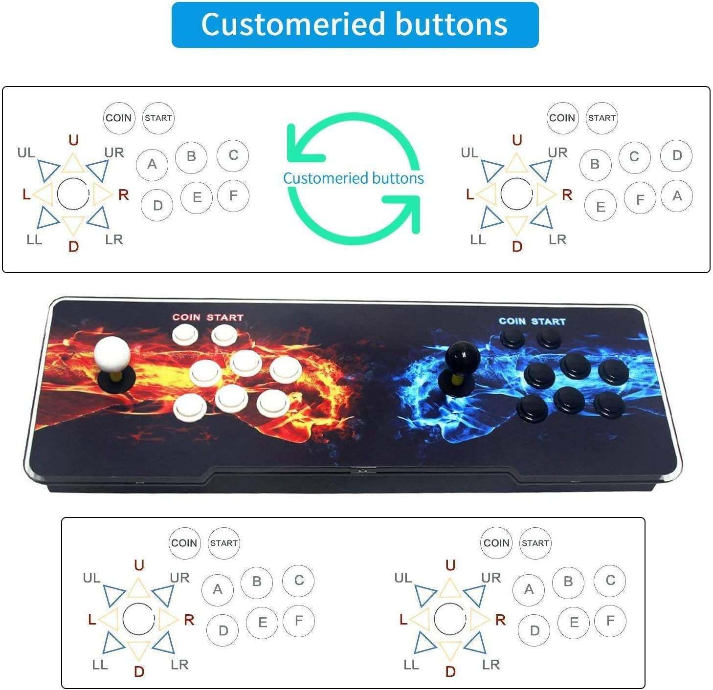 SeeKool Pandora 11 Arcade Video Game Console, 2255 in 1 Retro Video Games  Colorful LED Double Stick Arcade Console, HDMI VGA USB Newest System Arcade  ...