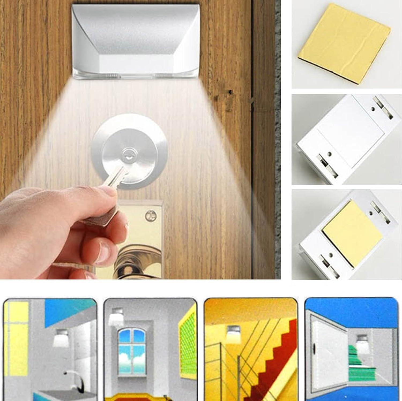 kompassswc PIR Sensor de movimiento de 4 ledes para puerta Iluminación Puerta automática para candado iluminación llave agujero luz LED Puerta Luz funciona ...