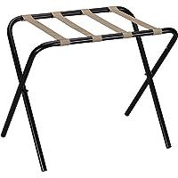 Household Essentials 2126-1 Folding Luggage Rack | Black Frame with Khaki Straps