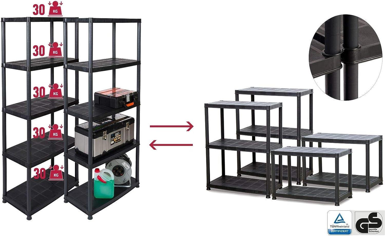 PRA Super-Deal: 2 Kunststoffregale mit je 5 B/öden und Einer Traglast von 150 kg gesamt 300 kg teilbar durch modularen Aufbau sowie zus/ätzlichen Kappen und F/ü/ße
