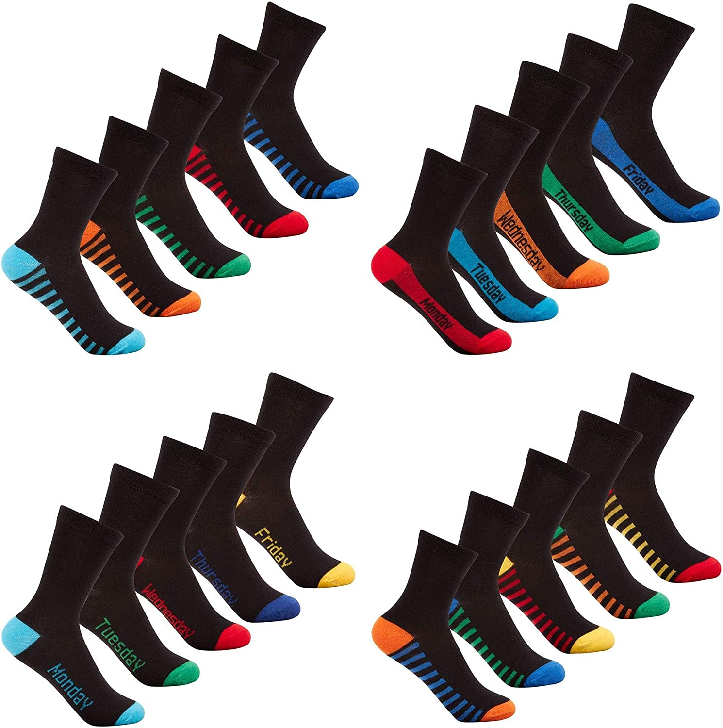 FRI Boys//Kids 5//10 Socks Pairs Packs COTTON RICH EVERYDAY Casual School Design Black Heel and Toe Stripe Mon
