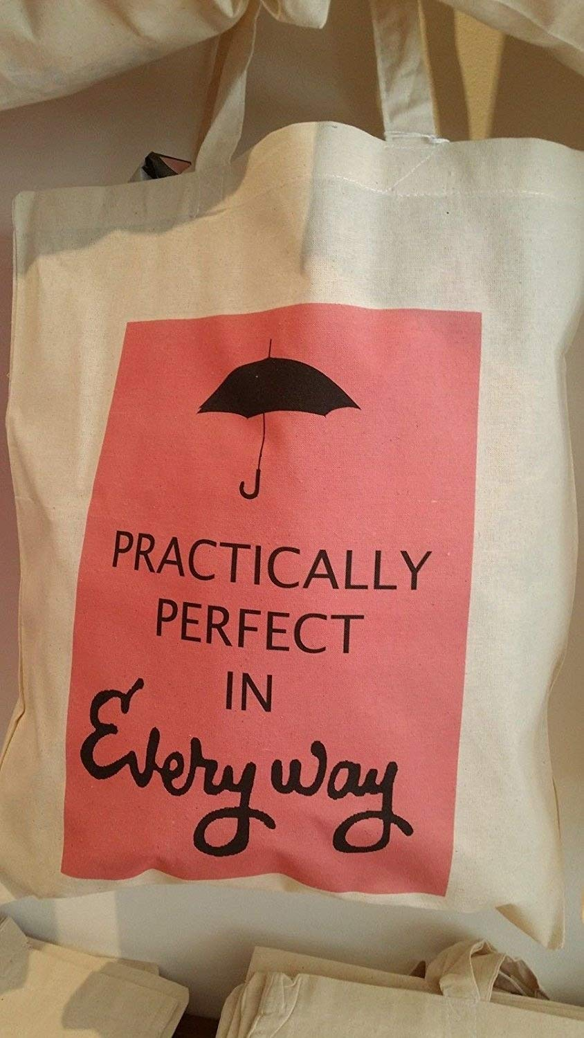 Borsa Tote libro in cotone  –   Mary Poppins film Book quote: Practically Perfect in Every Way  –   New ReallyFabCards Ltd