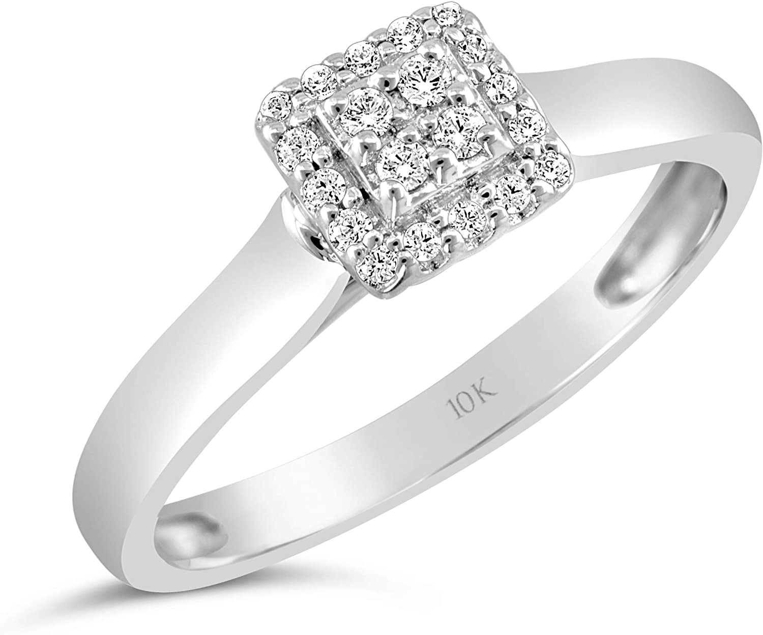 10kt Yellow Gold Mens Round Diamond Square Cluster Brushed Ring 1//8 Cttw
