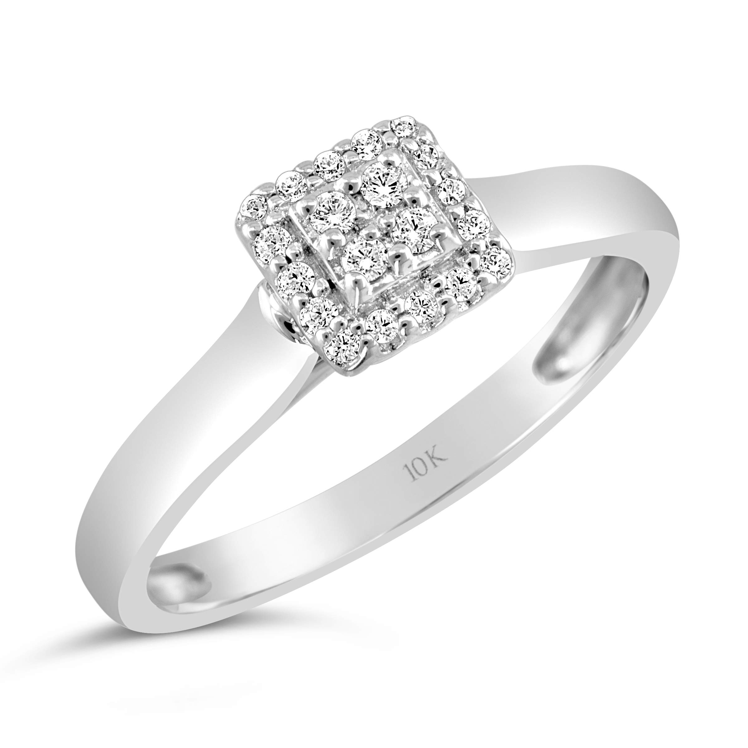 Brilliant Expressions 10K White Gold 1/8 Cttw Conflict Free Diamond Square Halo Cluster Engagement Ring (I-J Color, I2-I3 Clarity), Size 8